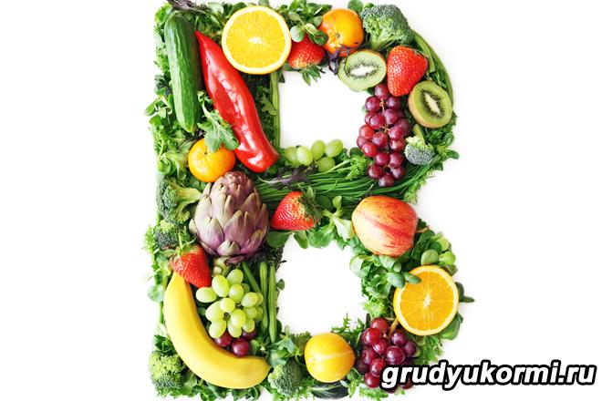 Буква B из фруктов и овощей