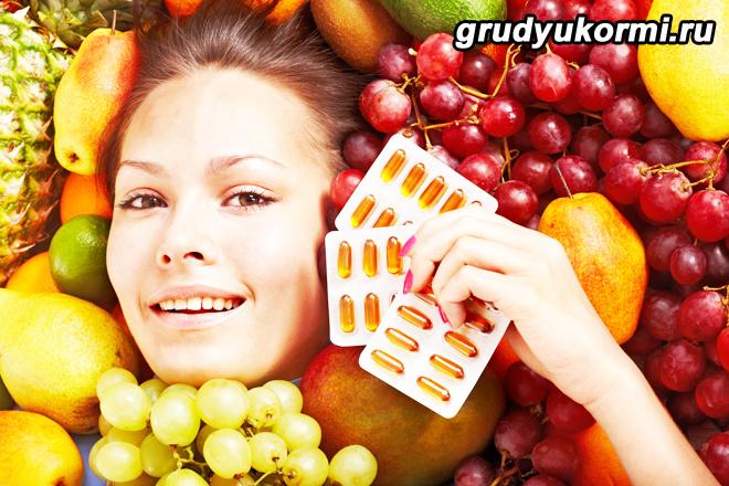Женщина, фрукты, таблетки