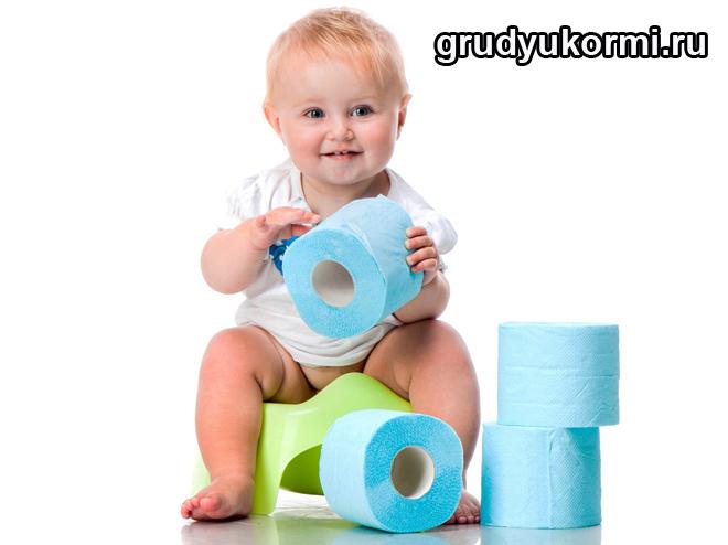 Малыш сидит на горшке и держит туалетную бумагу