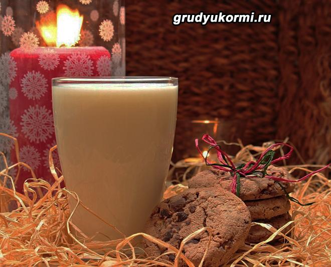 Кефир в стакане и печенье